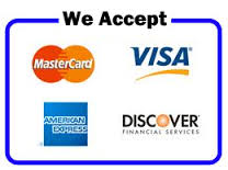 We accept Master, VISA, American Express, and Discover.